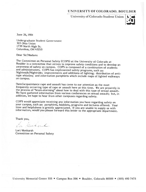 University of Colorado Letter to Undergraduate Student Government