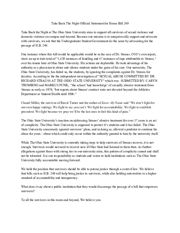 Take Back The Night Official Statement for House Bill 249