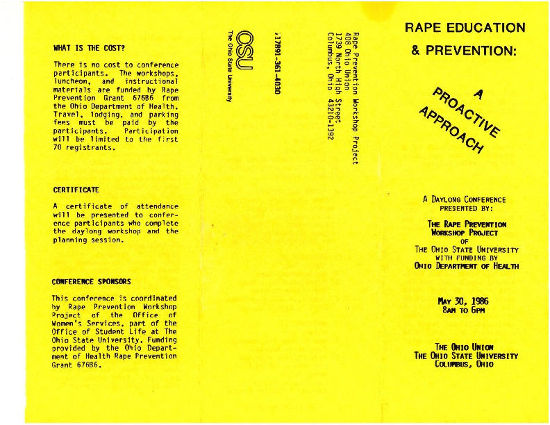 Rape Education and Prevention Program: A Proactive Approach Conference