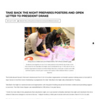 Take Back the Night Prepares Posters and Open Letter to President Drake