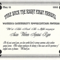 Take Back the Night First Annual Women's Community Appreciation Awards