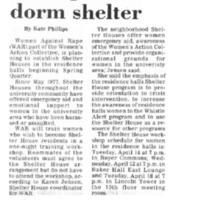 WAR plans dorm shelter