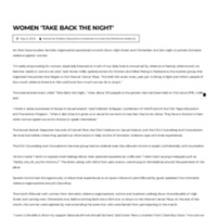 Women 'Take Back The Night'